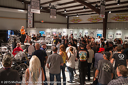 "The industry party for the Motorcycles as Art show titled ""The Naked Truth"" at the Buffalo Chip. SD, USA.  August 2, 2015.  Photography ©2015 Michael Lichter."