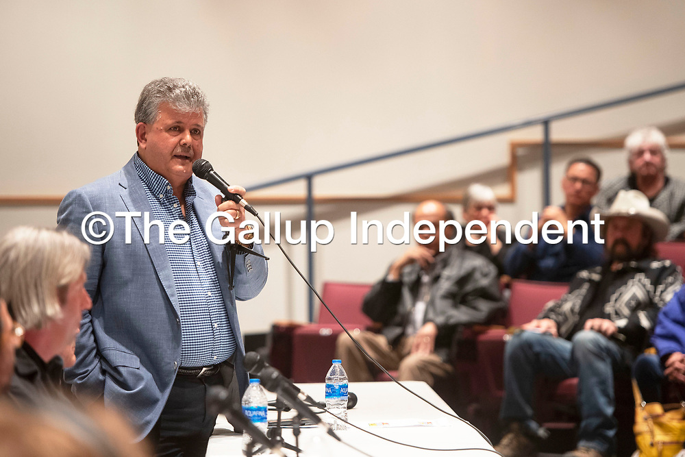 Mayoral candidate Sammy Chioda speaks Thursday, Feb. 20 at a candidate forum for the 2020 Municipal Officer Election at the University of New Mexico-Gallup Calvin Hall Auditorium co-hosted by the Gallup Independent and KGLP.