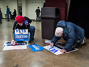02 MARCH 2020 - ST. PAUL, MINNESOTA: Veterans make signs at a Bernie Sanders Get Out the Vote rally in the RiverCentre in St. Paul. More than 8,400 people attended the rally. Minnesota is a Super Tuesday state this year and Minnesotans will go to the polls Tuesday. Minnesota Sen. Amy Klobuchar was expected to win her home state, but she dropped out early Monday.         PHOTO BY JACK KURTZ