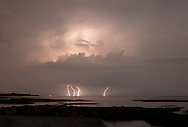 Multiple bolts of lightning were recorded in this time exposureof a thunderstorm approaching Cape Cod.