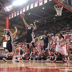 Feb 21, 2009; Piscataway, NJ, USA; Providence center Jessica Clark (55) grabs a defensive rebound during the second half of Rutgers' 55-42 victory over Providence at the Louis Brown Athletic Center.