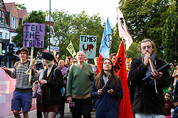 © Licensed to London News Pictures. 08/09/2019. London, UK. Hundreds of Extinction Rebellion climate change activists march from Turnpike Lane station to Manor House station in north London. Photo credit: Dinendra Haria/LNP