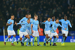 19th December 2017 - Carabao Cup (Quarter Final) - Leicester City v Manchester City - Man City players celebrate victory - Photo: Simon Stacpoole / Offside.