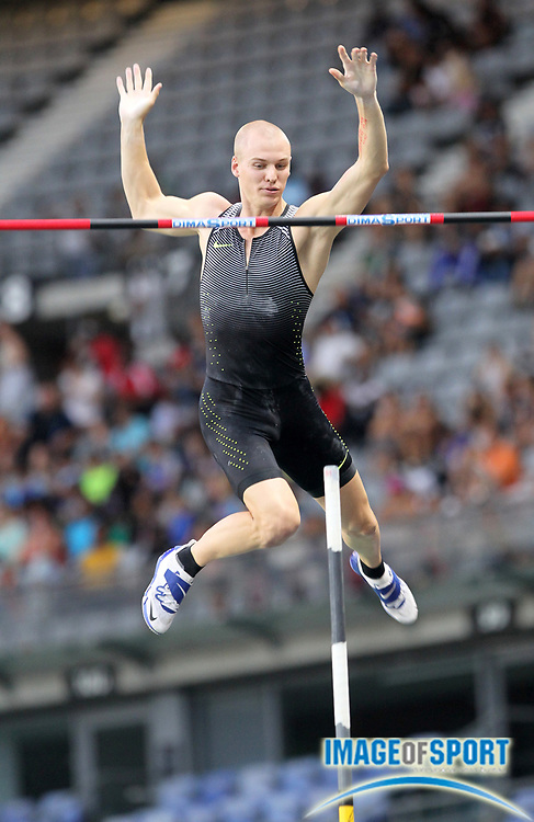 Sam Kendricks (USA) places second in the pole vault at 19-0 1/2 (5.81m) in the Meeting de Paris during a IAAF Diamond League track and field meet at Stade de France in Saint-Denis, France on Saturday, Aug. 28, 2016. Photo by Jiro Mochizuki