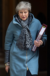 © Licensed to London News Pictures. 03/04/2019. London, UK. British Prime Minister Theresa May leaves 10 Downing Street for the House of Commons to attend PMQ'S. She is due to meet British Labour party leader Jeremy Corbyn and discuss Brexit negotiations. Photo credit: Ray Tang/LNP