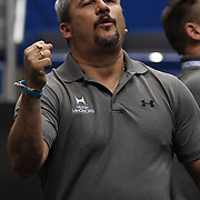 Yin Alvarez, coach and step father to Danell Leyva, Homestead, Florida, reacts with delight at his performance during the Senior Men Competition at The 2013 P&G Gymnastics Championships, USA Gymnastics' National Championships at the XL, Centre, Hartford, Connecticut, USA. 16th August 2013. Photo Tim Clayton