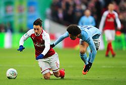 Leroy Sane of Manchester City fouls Mesut Ozil of Arsenal - Mandatory by-line: Matt McNulty/JMP - 25/02/2018 - FOOTBALL - Wembley Stadium - London, England - Arsenal v Manchester City - Carabao Cup Final