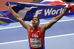 2018?3?3?.     ?????1???——???????????.        3?2??Juan Miguel Echevarria ?????.        ????????????2018?????????????????????Juan Miguel ECHEVARRÍA?8?46????????.        ???????·????????? .(SP) BRITAIN-BIRMINGHAM-TRACK AND FIELD-IAAF WORLD INDOOR CHAMPIONSHIPS DAY 2.(180303) -- LONDON, Mar. 3, 2018  Juan Miguel Echevarria of Cuba celebrates taking gold in the men's long jump final during the IAAF World Indoor Championships at Arena Birmingham in Birmingham, Britain on Mar. 2, 2018. (Credit Image: © Tim Ireland/Xinhua via ZUMA Wire)