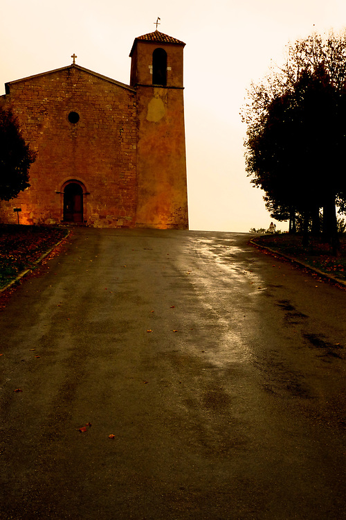 In the hilltop village of Tour-Tour (meaning two towers) in the Provence/Var region of southern France, light breaks through the clouds on a rainy afternoon.