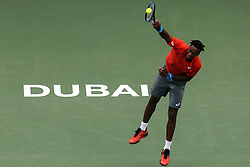 DUBAI, March 1, 2019  Gael Monfils of France serves during the singles quarterfinal match between Gael Monfils of France and Ricardas Berankis of Lithuania at the ATP Dubai Duty Free Tennis Championships 2019 in Dubai, the United Arab Emirates, Feb. 28, 2019. Gael Monfils of France won 2-1 to proceed to the semifinals. (Credit Image: © Mahmoud Khaled/Xinhua via ZUMA Wire)