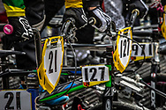 #21 (REYNOLDS Lauren) AUS and #127 (ESCOBAR Andrea) COL at the 2016 UCI BMX World Championships in Medellin, Colombia.