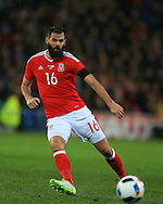 Joe Ledley of Wales in action.Wales v Northern Ireland, International football friendly match at the Cardiff City Stadium in Cardiff, South Wales on Thursday 24th March 2016. The teams are preparing for this summer's Euro 2016 tournament.     pic by  Andrew Orchard, Andrew Orchard sports photography.