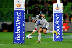 Daniel Kirkpatrick (HUR) try.Melbourne Rebels v The Hurricanes.Rugby Union - 2011 Super Rugby.AAMI Park, Melbourne VIC Australia.Friday, 25 March 2011.© Sport the library / Jeff Crow