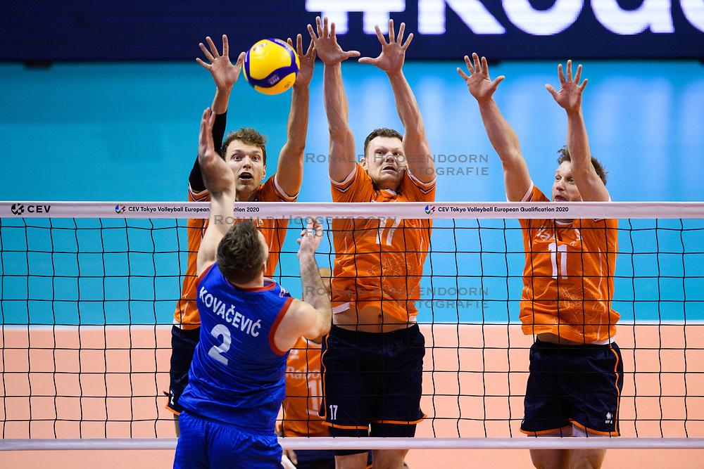 06-01-2020 NED: CEV Tokyo Volleyball European Qualification Men, Berlin<br /> Match Serbia vs. Netherlands 3-0 / Wessel Keemink #2 of Netherlands, Michael Parkinson #17 of Netherlands, Jelte Maan #11 of Netherlands