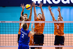 06-01-2020 NED: CEV Tokyo Volleyball European Qualification Men, Berlin<br /> Match Serbia vs. Netherlands 3-0 / Wessel Keemink #2 of Netherlands, Michael Parkinson #17 of Netherlands, Jelte Maan #11 of Netherlands