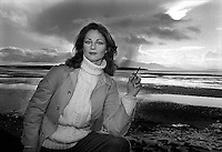 Actress Charlotte Rampling seen  in Southern Ireland during the filming of 'the Purple Taxi' in which she starred with Fred Astaire. November 1976. Photograph by Terry Fincher