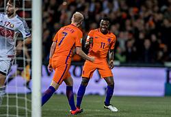 07-10-2016 NED: WK kwalificatie Nederland - Wit-Rusland, Rotterdam<br /> Het Nederlands elftal heeft in De Kuip een 4-1 overwinning op Wit-Rusland geboekt / Davy Klaassen scoort in de rebound de 3-1 en Quincy Promes of Holland viert alvast het feestje