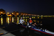 2005 FISA Team Cup, Rio Guadalquiver Rowing Course, Seville, SPAIN, 19.02.2005. Training Day; German LW early morning training session..Photo  Peter Spurrier. .email images@intersport-images... Sunrise, Sunsets, Silhouettes , Equipment