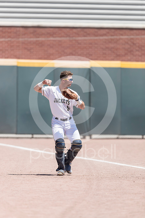 Georgia Tech catcher Joery Bart (9) in action as Texas Rangers Senior Director of Amateur Scouting Kipp Fagg looks on during an NCAA baseball game between Radford and Georgia Tech, Sunday, May 6, 2018, in Atlanta. (Paul Abell / Special Contributor)