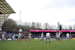 A general view of a lineout at Adams Park - Photo mandatory by-line: Patrick Khachfe/JMP - Mobile: 07966 386802 14/12/2014 - SPORT - RUGBY UNION - High Wycombe - Adams Park - Wasps v Castres Olympique - European Rugby Champions Cup