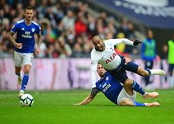 Joe Ralls of Cardiff City fouls Lucas of Tottenham Hotspur - Mandatory by-line: Alex James/JMP - 06/10/2018 - FOOTBALL - Wembley Stadium - London, England - Tottenham Hotspur v Cardiff City - Premier League