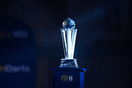 The trophy on display at the Alexandra Palace arena ahead of the William Hill World Darts Championship Semi-Finals at Alexandra Palace, London, United Kingdom on 2 January 2021.