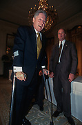 WASHINGTON, DC, USA - 1997/04/02: U.S. President Bill Clinton departs using crutches from a Roundtable Discussion on Education event in the East Room of the White House April 2, 1997 in Washington, DC.  Clinton is using crutches following knee surgery.   (Photo by Richard Ellis)