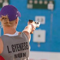 Hungary's Leila Gyenesei prepares during the Modern Pentathlon Women's World Cup held in Budapest, Hungary on May 07, 2011. ATTILA VOLGYI