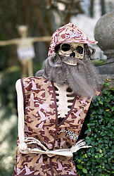 30 October 2015. New Orleans, Louisiana.<br /> The Skeleton Krewe mansion on St Charles Avenue at the corner of State Street draws crowds with its satirically spooky Halloween decorations. Duck Dynasty.<br /> Photo©; Charlie Varley/varleypix.com