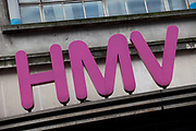 Sign for music and entertainment shop HMV.