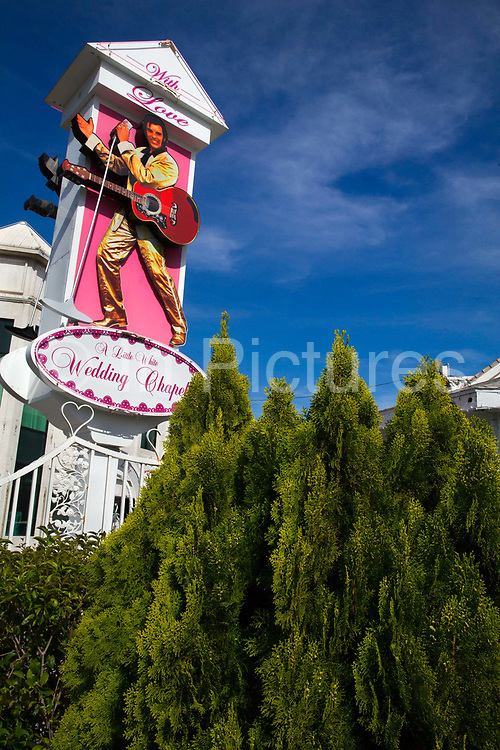 """A Little White Wedding Chapel in Las Vegas, Nevada, USA, has been the site of many """"quickie"""" celebrity weddings. It is noted for its Drive-Thru Tunnel of Vows. It was established in 1951, and has married about 800,000 couples."""