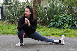 © Licensed to London News Pictures. 01/04/2020. London, UK. A woman exercising at a north London park as coronavirus lockdown continues. Photo credit: Dinendra Haria/LNP