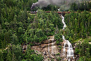 The historic steam engine number 73 and the White Pass and Yukon Route railroad from Skagway, Alaska.