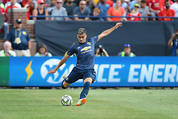 July 28, 2018 - Ann Arbor, Michigan, United States - Andreas Pereira (15) of Manchester United passes the ball during an International Champions Cup match between Manchester United and Liverpool at Michigan Stadium in Ann Arbor, Michigan USA, on Wednesday, July 28,  2018. (Credit Image: © Amy Lemus/NurPhoto via ZUMA Press)
