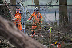 Wendover, UK. 28th April, 2021. Tree surgeons working on behalf of HS2 Ltd assist with the felling of trees for the HS2 high-speed rail link in ancient woodland at Jones Hill Wood in the Chilterns AONB. Felling of the woodland which contains resting places and/or breeding sites for pipistrelle, barbastelle, noctule, brown long-eared and natterer's bats has recommenced after a High Court judge yesterday refused campaigner Mark Keir permission to apply for judicial review and lifted an injunction on felling.