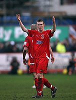 Photo: Rich Eaton.<br /> <br /> Tamworth FC v Norwich City. The FA Cup. 06/01/2007. Kyle Storer of Tamworth celebrates scoring his teams only goal of the game to make the score 4-1 to Norwich