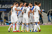 ATHENS, GREECE - OCTOBER 11: Greek players celebrate the second goal of Greece during the UEFA Nations League group stage match between Greece and Moldova at OACA Spyros Louis on October 11, 2020 in Athens, Greece. (Photo by MB Media)