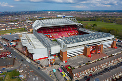 LIVERPOOL, ENGLAND - Friday, April 30, 2021: An aerial view of Anfield, the home stadium of Liverpool Football Club. Goodison Park, home of Everton FC, can be seen in the distance past Stanley Park. (Pic by David Rawcliffe/Propaganda)