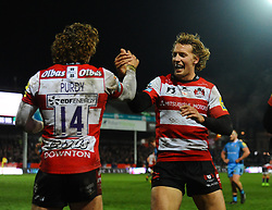 Henry Purdy of Gloucester Rugby celebrates his try with Billy Twelvetrees of Gloucester Rugby - Mandatory by-line: Alex Davidson/JMP - 02/12/2017 - RUGBY - Kingsholm - Gloucester, England - Gloucester Rugby v London Irish - Aviva Premiership