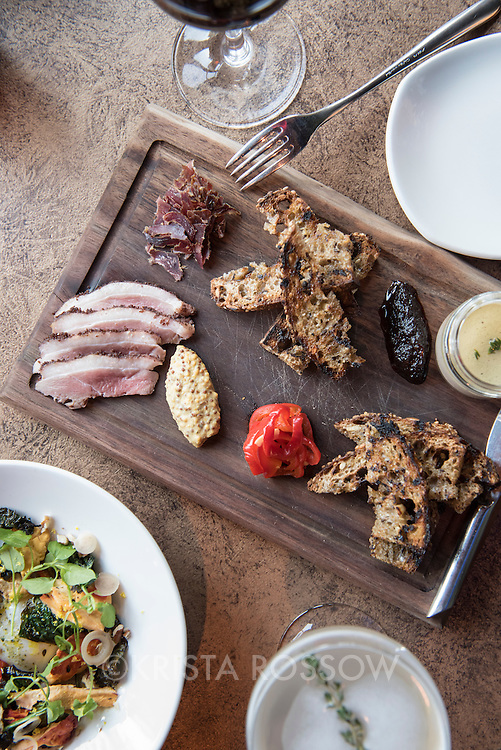 A charcuterie board at Chef Katie Button's restaurant Nightbell, which is located at 32 S Lexington Avenue in Downtown Asheville, North Carolina.