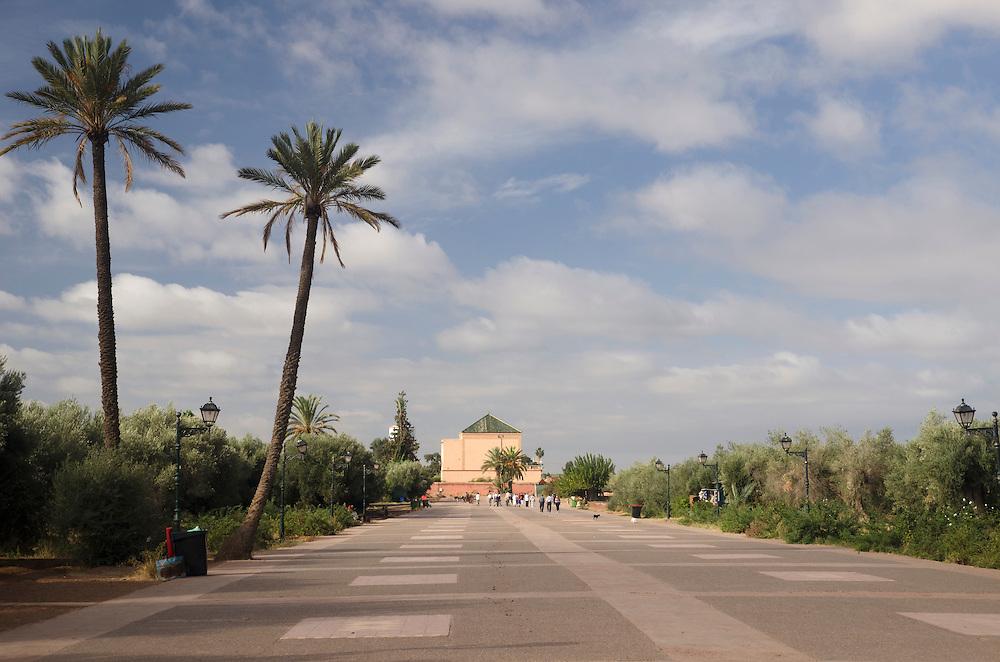People walking in Menara garden in Marrakech Morocco