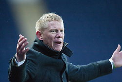Falkirk's manager Gary Holt  after Falkirk's Conor McGrandles brought down for a penalty claim.<br /> Falkirk 1 v 1 Morton, Scottish Championship game today at The Falkirk Stadium.<br /> © Michael Schofield.