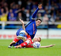 Bristol City's Scott Wagstaff fouls Rochdale's goalscorer, Ian Henderson - Photo mandatory by-line: Dougie Allward/JMP - Mobile: 07966 386802 23/08/2014 - SPORT - FOOTBALL - Manchester - Spotland Stadium - Rochdale AFC v Bristol City - Sky Bet League One
