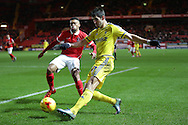 Nelson Oliveira of Nottingham Forest crosses the ball. Skybet football league championship match, Charlton Athletic v Nottingham Forest at The Valley  in London on Saturday 2nd January 2016.<br /> pic by John Patrick Fletcher, Andrew Orchard sports photography.