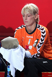 Goalkeeper of Krim Agnes Triffa hit in the left eye at EHF Champions league handball match in Group II between RK Krim Mercator and Gyori Audi Eto KC, on February 7, 2009, in Kodeljevo, Ljubljana, Slovenia. Gyori won 35:31. (Photo by Vid Ponikvar / Sportida)