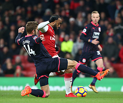 November 29, 2017 - London, England, United Kingdom - Arsenal's Alexandre Lacazette scores his sides first goal  ..during Premier League match between Arsenal and Huddersfield Town at Emirates Stadium, London,  England on 29 Nov   2017. (Credit Image: © Kieran Galvin/NurPhoto via ZUMA Press)
