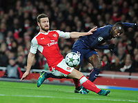 Football - 2016 / 2017 UEFA Champions League - Group A: Arsenal vs. Paris Saint-Germain<br /> <br /> Blaise Matuidi of PSG beats Shkodran Mustafi to cross the ball for Cavani to score his goal at The Emirates.<br /> <br /> COLORSPORT/ANDREW COWIE