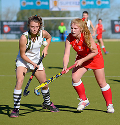 Kate Lane of DSG(white) and Claire Hislop of St Mary's during day one of the FNB Private Wealth Super 12 Hockey Tournament held at Oranje Meisieskool in Bloemfontein, South Africa on the 6th August 2016<br /> <br /> Photo by:   Frikkie Kapp / Real Time Images