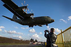 © Licensed to London News Pictures. 23/02/2016. London, UK. Nurse Pauline Cafferkey arrives on an RAF Hercules plane at RAF Northolt.  The Scottish nurse contracted the Ebola virus in Sierra Leone in 2014 and has been admitted to the Royal Free hospital in London with the condition twice before .  Photo credit: Peter Macdiarmid/LNP
