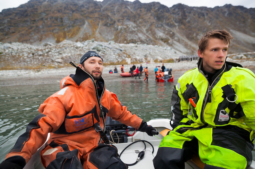 Scientists are retrieved by motor boats from the Polish research station in Hyttevika, Svalbard.